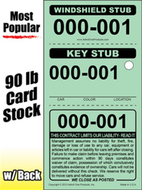 printable valet tickets 3 part stock valet parking tickets from admit one products