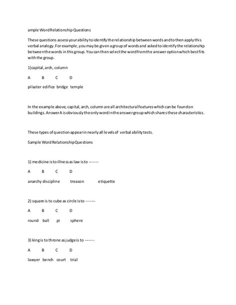 sle word relationship questions