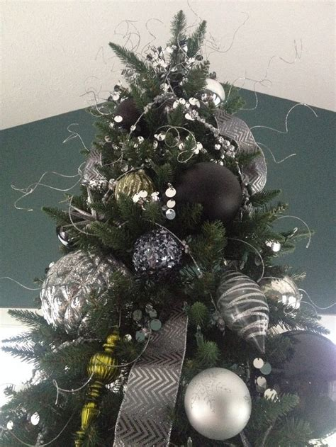black silver and green christmas tree the holidays