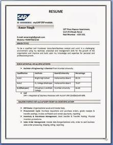 Resume Format Pdf Word by Sap Sd Resume Format
