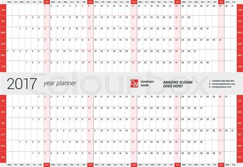 Yearly Wall Calendar Planner Template For 2017 Year Vector Design Print Template Week Starts Yearly Wall Calendar Template