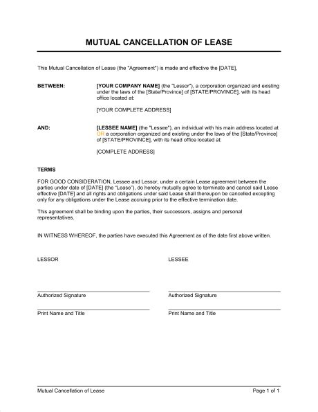 cancellation letter of tenancy agreement cancellation of lease template sle form