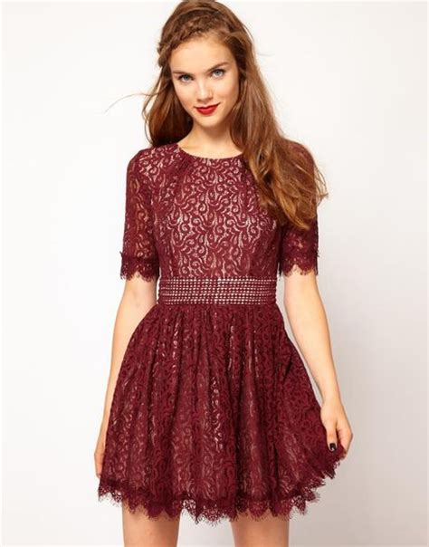 pt mjni rosemarry lace maroon amelia fit and flare lace skater dress in