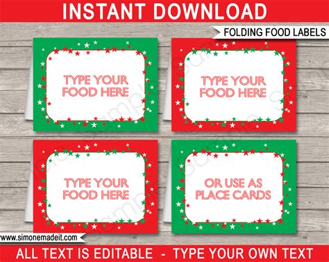 free template food cards food labels place cards