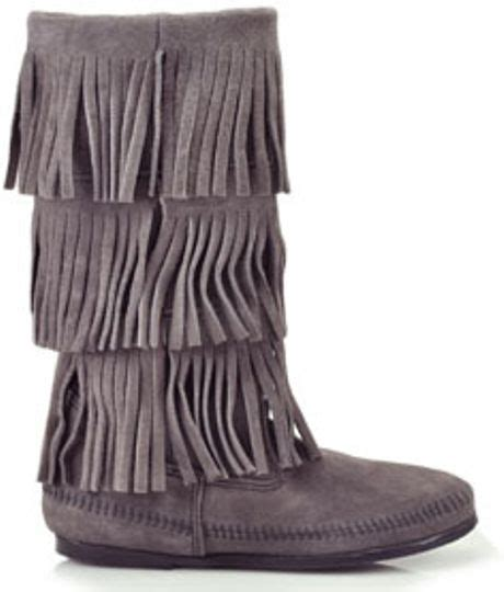 gray fringe boots minnetonka 3 layer suede fringe boot in gray grey lyst