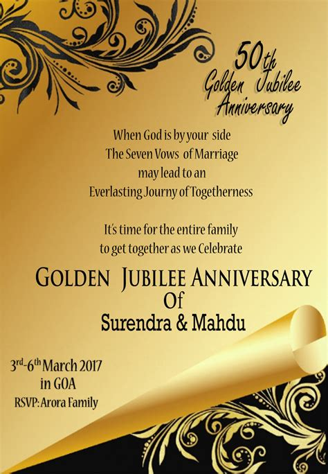 golden jubilee anniversary invitation cards 4k wallpapers