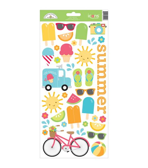 Doodlebug Sunkissed Icons Cardstock Stickers 6 X13