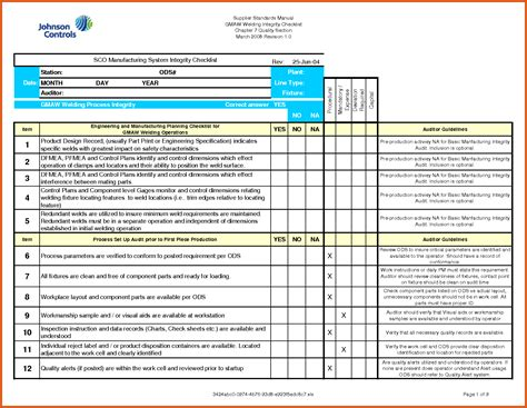 end of day checklist template checklist template excel sop exle