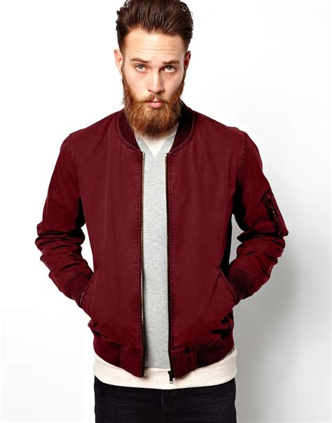 Jaket Bomber Polos Maroon Bomber Jaket asos fitted cotton bomber jacket in for lyst