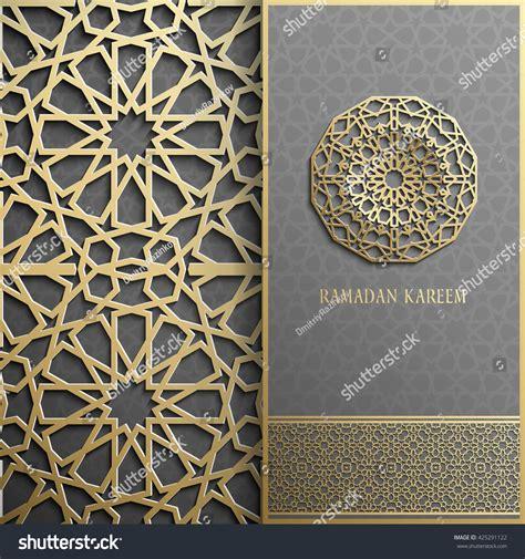 islamic pattern gold 3d ramadan kareem greeting cardinvitation islamic stock