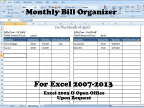 Monthly Payment Bill Organizer Template Excel Divide Payments Into 1st