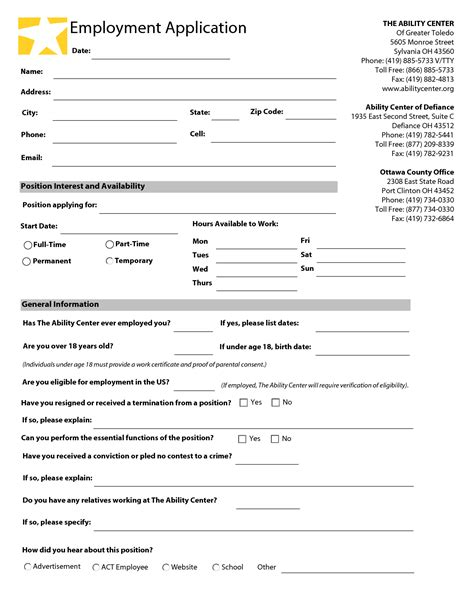 free employment application template pdf best photos of template of application blank