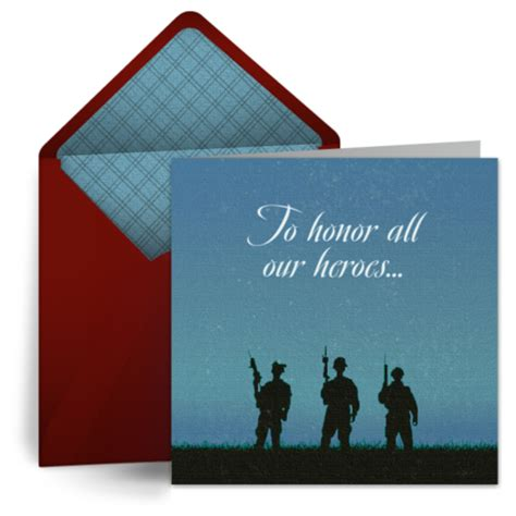 Punchbowl Gift Cards - soldiers in silhouette free veterans day ecard veterans day card greeting card