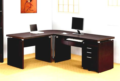 Office Desks Home Home Office Impressive Office Idea Presented With Brown Colored L Shaped Home Office Desks
