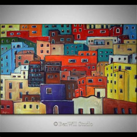 colorful modern mexican 60 quot huge abstract painting colorful art original modern