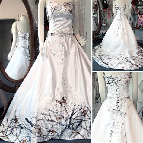 White Camo Wedding Dresses by You Had Me At Camo White Camo Wedding Dress With