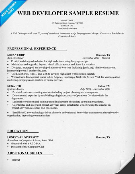 Web Developer Resume by Web Developer Resume Sle Resumecompanion Resume