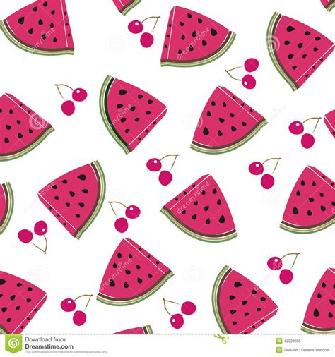 cherry pattern vector art cherry and watermelon vector pattern stock vector image