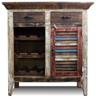 Distressed Wood Bar Cabinet Rustic Distressed Reclaimed Wood Wine Cabinet With Wine Rack And Shuttered Door Rustic Wine