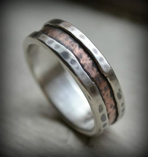 Handmade Wedding Band - rustic silver and copper ring handmade wedding or