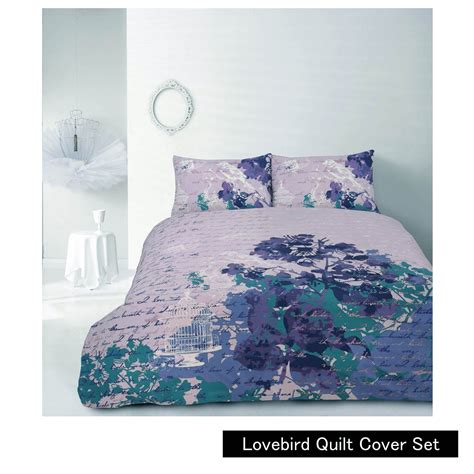 lovebird purple quilt cover set by retrohome