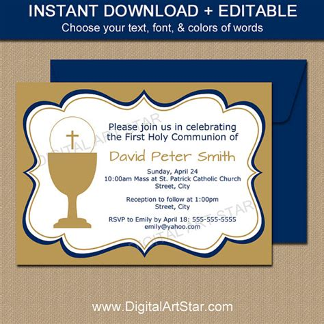 holy communion invitations editable first communion