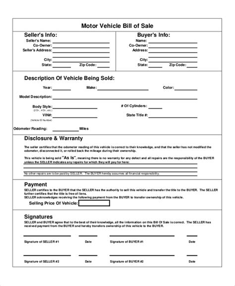 used car bill of sale template and 10 how to write a bill template