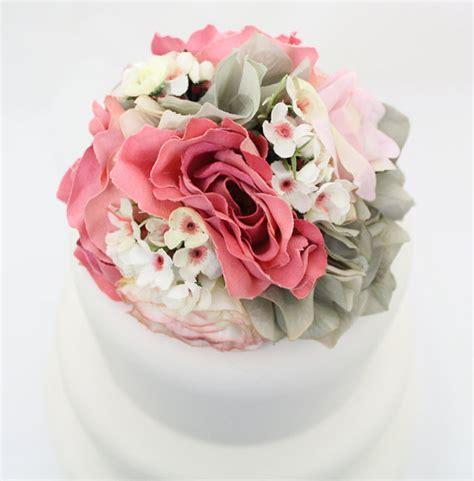 Cake Flower Silk Wedding by Wedding Cake Topper Pink Gray Hydrangea Silk