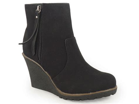 womans wedge boots womens black office ankle wedge shoes boots 3 8 ebay