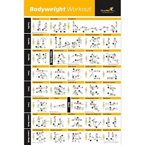 home gym workout plan bodyweight exercise poster total body workout personal