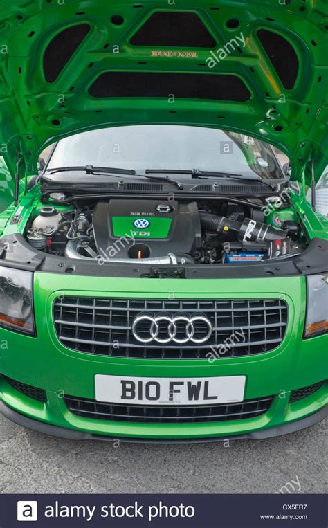 audi biodiesel green car with bonnet up and showing biofuel vw engine