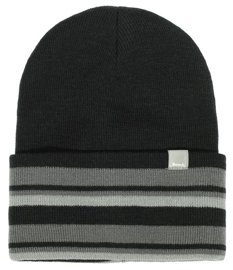 bench beanie hat bench strypes reversible turn up beanie hat in black for
