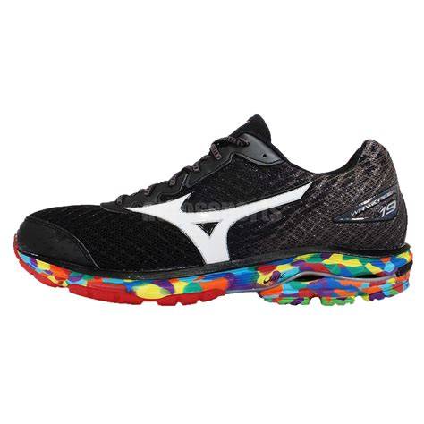 black mizuno running shoes mizuno wave rider 19 osaka marathon black rainbow mens