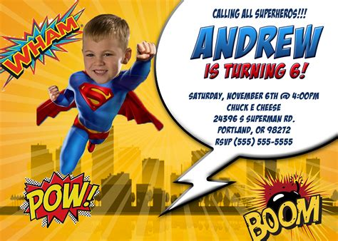 superman birthday invitations kustom kreations