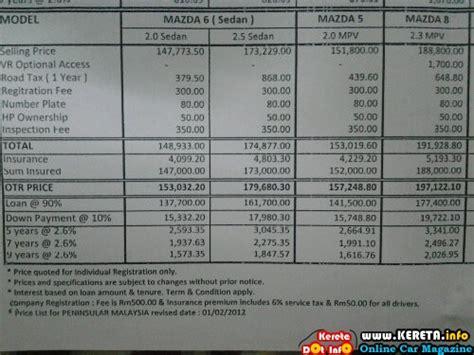 Mazda 6 Mazda 5 Mpv Mazda 8 Luxury Mpv Price Lists