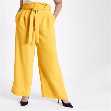 19213 Yellow Wide Leg Trousers plus yellow tapered leg trousers wide leg trousers