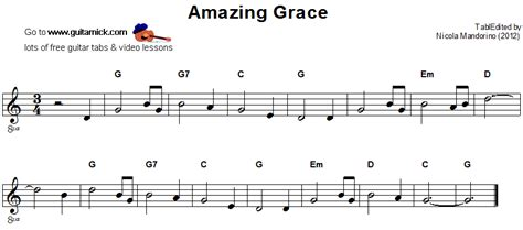 guitar tutorial amazing grace amazing grace guitar sheet music music pinterest