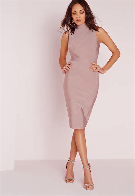 Bandage Dress lyst missguided premium bandage high neck midi dress mauve in pink