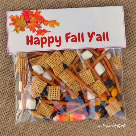 Snack Goodie Bag Label fall snack mix treat bags the resourceful