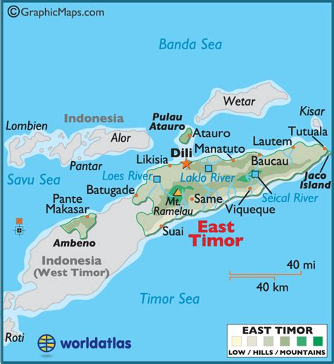 where is east timor on the map east timor large color map