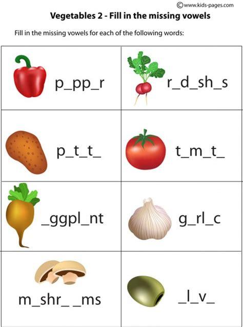 vegetables worksheet vegetables fill in 2 worksheet