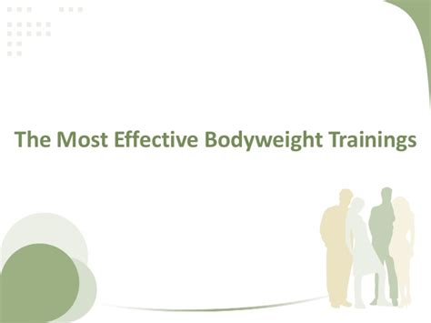 the most effective bodyweight trainings