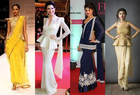 Blouse Peplum Bordir plain saree with designer blouse ideas