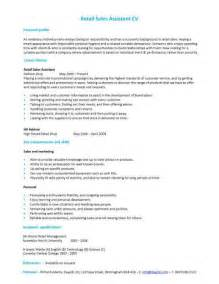 Resume Sles For Assistant by Retail Sales Assistant Cv