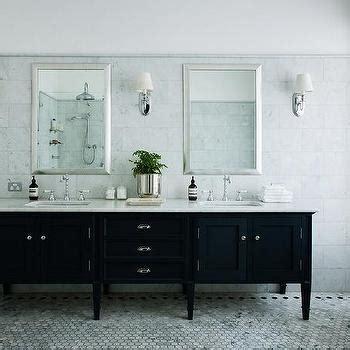 beveled bathroom vanity mirror contrasting marble border design ideas