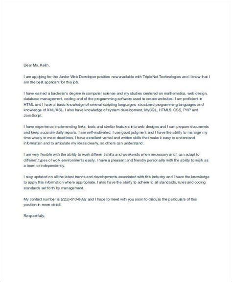 job application letters web designer
