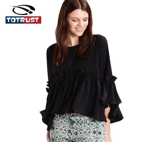 Jaqueer Ruffle Blouse Be2841 01 Black Blouse totrust chiffon blouse tops 2017 ruffle blouse three quarter flare sleeve black