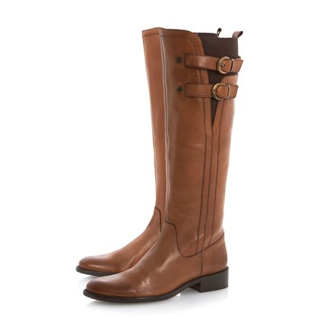 dune tirrent buckle high boot in brown lyst