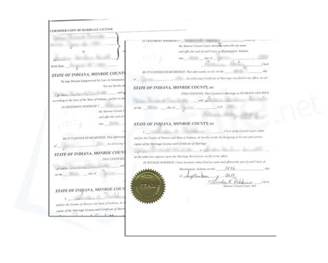 Marion County Indiana Birth Records State Of Indiana County Certified Copy Of Marriage License Signed By K