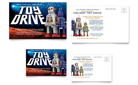 Holiday Toy Drive Fundraiser Postcard Template Word Publisher Fundraiser Flyer Templates Microsoft Word